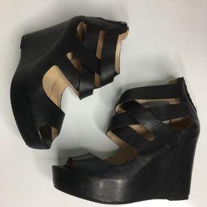 DV by Dolce Vita Shoes - Gorgeous DV Black Strappy Modern Wedge Heels 10M